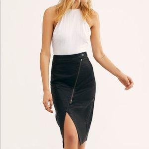 Free People Vegan Leather Midi Skirt Asymmetric M